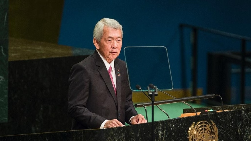 Philippines' Foreign Minister Perfecto Yasay addresses the 71st session of the United Nations General Assembly at U.N. headquarters, Saturday, Sept. 24, 2016. (AP Photo/Andres Kudacki)