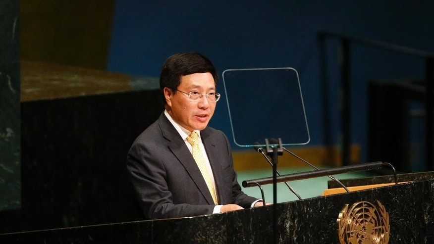 Vietnam's Deputy Prime Minister Pham Binh Minh addresses the 71st session of the United Nations General Assembly at U.N. headquarters, Saturday, Sept. 24, 2016. (AP Photo/Jason DeCrow)