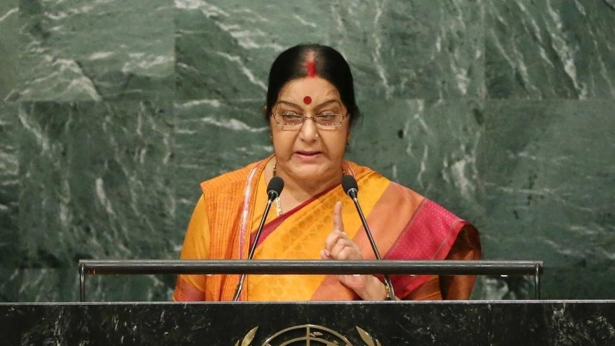 Sushma Swaraj, Minister of External Affairs for India, speaks during the 71st session of the United Nations General Assembly at U.N. headquarters, Monday, Sept. 26, 2016. (AP Photo/Seth Wenig)