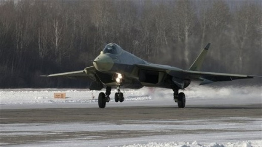 A Russian-made Sukhoi T-50 prototype fifth-generation fighter jet.