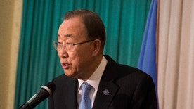 FILE--in this file photo of Thursday Feb.25, 2016, UN Secretary General, Ban Ki Moon, speaks to the media in Juba, South Sudan.  A confidential report from U.N. Secretary-General Ban Ki-moon to the U.N. Security Council, dated Sept. 8, 2016, obtained by The Associated Press, is a stark list of the ways South Sudan's government has obstructed the U.N. peacekeeping mission in a country devastated by civil war. (AP Photo-file)