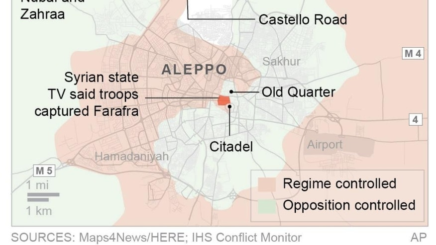 Syrian government forces captured a central rebel-held neighborhood in Aleppo.