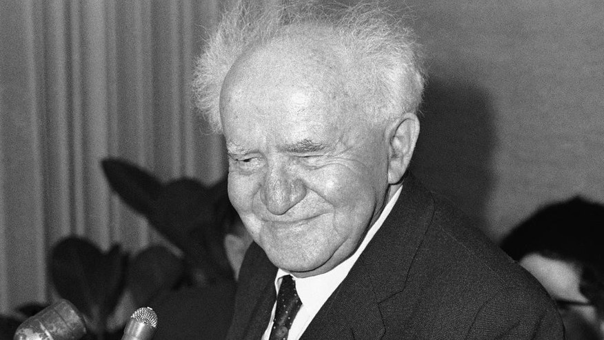 File - In this March 10, 1967 file photo, David Ben-Gurion, former Prime Minister of Israel, sits during a press conference in Chicago's City Hall. Israel's founding father and first prime minister. He served from Israel's founding in 1948 to 1963 with a two-year hiatus in 1954-55. He was renowned for declaring Israel's independence and building the country's military might. (AP Photo/Charles Knoblock, File)