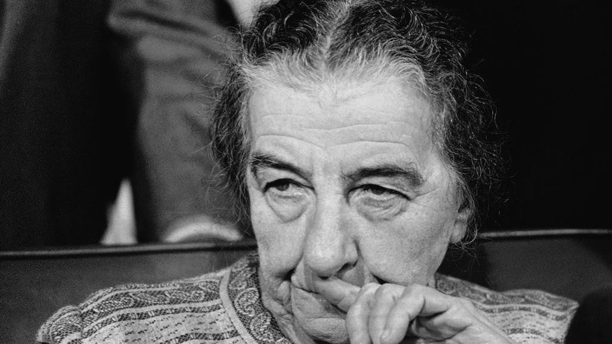File - In this Wednesday, October 31, 1973 file photo, Israeli Premier Golda Meir holds a news conference at Dulles International Airport near Washington after she arrived in the United States for talks with President Richard Nixon. Israel's first and only female prime minister, she served between 1969 and 1974. (AP Photo/Charles Bennett, File)