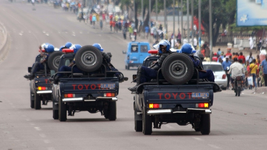 Sept. 20, 2016: Congo riot police patrol streets on trucks, after violence erupted due to the delay of the presidential elections in Kinshasa, Democratic Republic of Congo.