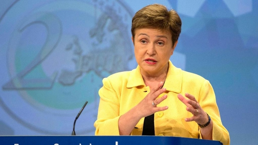FILE - In this Wednesday, May 27, 2016 file photo, European Commissioner for Budget Kristalina Georgieva speaks during a media conference at EU headquarters in Brussels. Georgieva of Bulgaria, the latest candidate to be the next secretary-general, European commissioner, will appear before the U.N. General Assembly on Monday to answer questions from member states. Georgieva, a former World Bank vice president, entered the race after Bulgarian Prime Minister Boiko Borisov announced Wednesday that the government was switching its support from UNESCO chief Irina Bokova to her.  (AP Photo/Virginia Mayo, File)