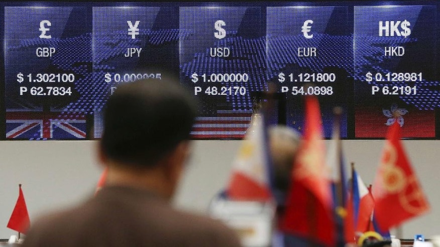 In this Friday, Sept. 30, 2016 photo, a Filipino trader stands in front of an electronic board showing the exchange rates during afternoon trading at the Philippine Stock Exchange in the financial district of Makati, south of Manila, Philippines. Analysts and businessmen point to uncertainties about Philippine President Rodrigo Duterte's policies and flip-flopping pronouncements as largely to blame for foreign selling in the stock market and the peso's plunge to a seven-year low, reversing initial optimism after his June 30 inauguration. (AP Photo/Aaron Favila)