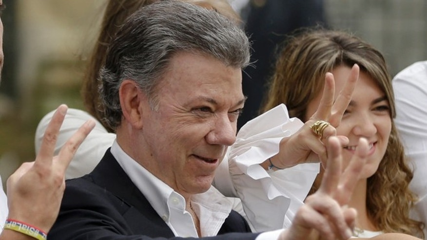 Colombia's President Juan Manuel Santos after voting in Bogotá, Colombia, Sunday, Oct. 2, 2016.