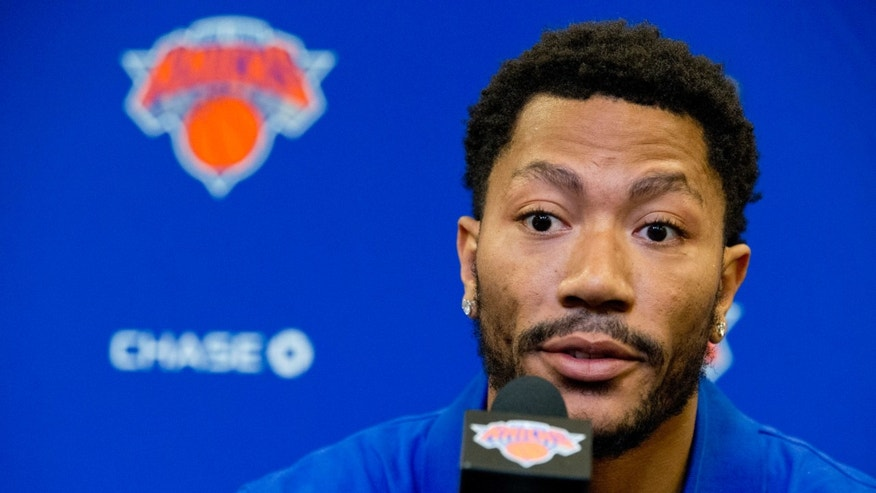 Derrick Rose speaks during a news conference on June 24, 2016.