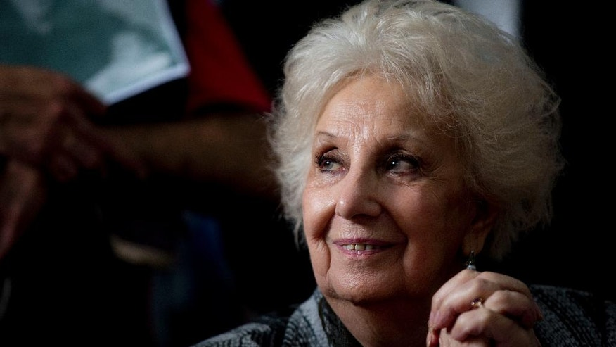 Estela Carlotto, president of human rights group Grandmothers of Plaza de Mayo, smiles during a press conference to announce that the 121st stolen baby was identified using DNA tests, in Buenos Aires, Argentina, Wednesday, Oct. 5, 2016. The grandchild, whose identity has not yet been revealed, is son of Ana Maria Lanzillotto and Domingo Menna, both disappeared during the country's former dictatorship. (AP Photo/Natacha Pisarenko)