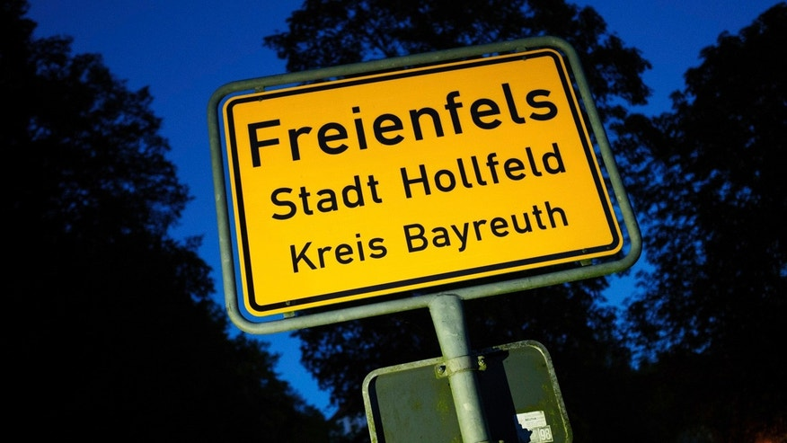 Oct. 4, 2016: This photo shows the town sign of  Freienfels near Bayreuth, southern Germany, where a 43-year-old man was found who didn't leave his parents' house for many years.