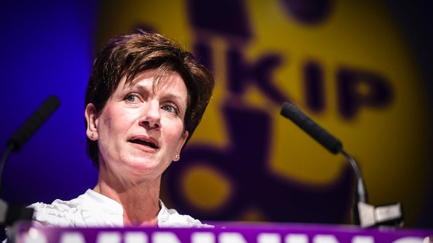 FILE - This is a Sept. 17, 2016  file photo of leader of the UK Independence Party Diane James. James on Wednesday Oct. 5, 2016, threw the UK Independence Party into disarray by resigning the leadership post only 18 days after she took over the role, citing personal and professional reasons and a lack of support from party members.  (Ben Birchall/PA via AP)
