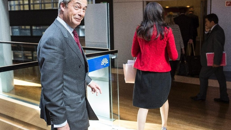 Nigel Farage, former leader of the UK Independence Party and member of the European Parliament, walks after a session at the European Parliament in Strasbourg, eastern France, Wednesday, Oct. 5, 2016. (AP Photo/Jean-Francois Badias)