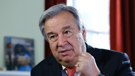 """Antonio Guterres, United Nations High Commissioner for Refugees, during an interview with the Associated Press, in London,  Tuesday, Nov. 4, 2014. The U.N. Refugee Agency has launched a 10-year campaign with the goal of eliminating the """"stateless"""" status affecting millions of people throughout the world. (AP Photo/Kirsty Wigglesworth)"""