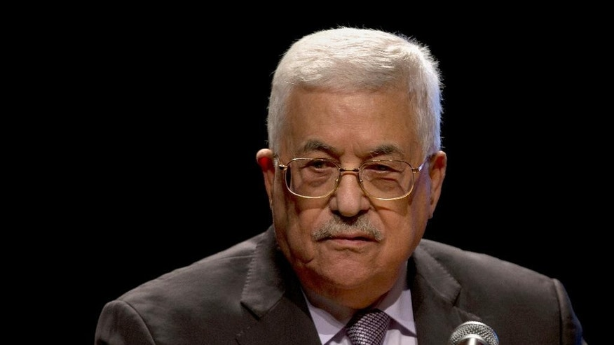 FILE -- In this Saturday, Oct. 1, 2016 file photo, Palestinian President Mahmoud Abbas, speaks during a conference in the West Bank City of Bethlehem. A West Bank hospital official said Thursday, Oct. 6, 2016, that Abbas will undergo a heart test after being hospitalized. The official says Abbas, 81, will undergo a cardiac catheterization, a procedure in which a thin tube is inserted into a blood vessel to examine the strength of his heart. (AP Photo/Majdi Mohammed)