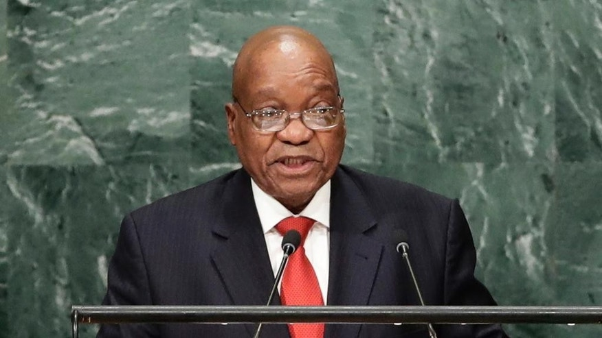 FILE - In this Sept. 20, 2016 file photo, South African President Jacob Zuma speaks during the 71st session of the United Nations General Assembly. Public Protector Thuli Madonsela is investigating Zuma's close ties to an Indian immigrant family, the Guptas, before she leaves her post this month. (AP Photo/Frank Franklin II, File)