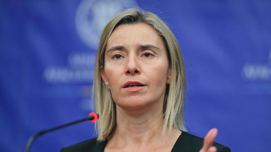 "EU foreign policy chief Federica Mogherini, listens to questions during a joint press conference with Romanian Foreign Minister Lazar Comanescu, in Bucharest, Romania, Friday, Oct. 7, 2016. Mogherini expressed satisfaction upon hearing that President Colombian President Juan Manuel Santos won the Nobel Peace Prize calling him a ""great man of peace"" (AP Photo/Vadim Ghirda)"