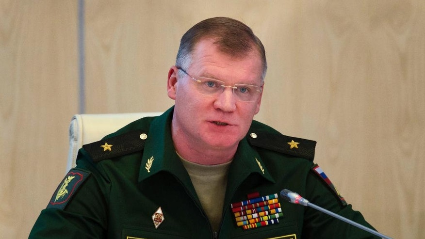 Sept. 26, 2016: Russian defense ministry spokesman Maj.-Gen. Igor Konashenkov speaks to the media in Moscow, Russia.