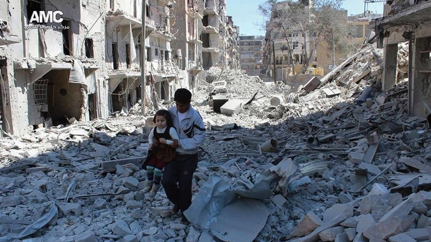 FILE -- In This April 21, 2014, file photo, provided by the anti-government activist group Aleppo Media Center (AMC), which has been authenticated based on its contents and other AP reporting, shows a Syrian man holding a girl as he stands on the rubble of houses that were destroyed by Syrian government forces air strikes in Aleppo, Syria. The implosion of diplomatic talks with Russia has left the Obama administration with a series of bad options for what to do next in Syria. Despite harrowing scenes of violence in Aleppo and beyond, President Barack Obama is unlikely to approve any risky new strategy before handing the civil war over to his successor early next year.(AP Photo/Aleppo Media Center AMC, File)