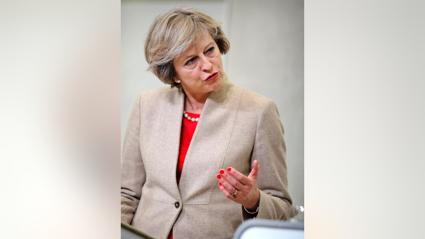 British Prime Minister Theresa May, during a press conference after a meeting with Denmark's Prime Minister Lars Loekke Rasmussen, at the Prime Minister's Resident Marienborg, north of Copenhagen, Denmark, Monday, Oct. 10, 2016. (Jens Dresling/Polfoto via AP)
