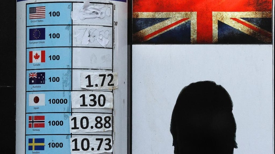 A currency exchange board with washed out rates in London, Wednesday, Oct. 12, 2016.  The pound remained volatile, gaining ground Wednesday after the British Prime Minister Theresa May said she would open to parliamentary debate the issue of how the country approaches its exit from the European Union. ((AP Photo/Frank Augstein)