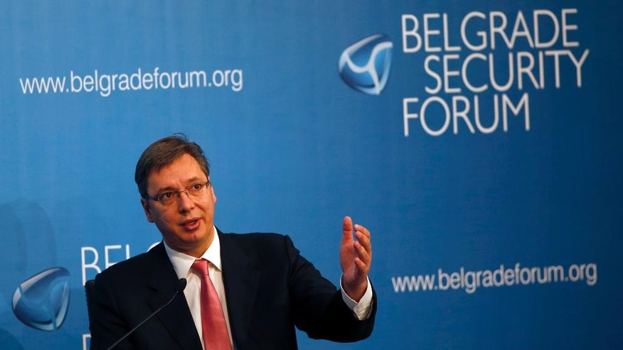 "Serbian Prime Minister Aleksandar Vucic speaks during a panel ""The Future of Albanian-Serbian Relations and the Stability of South East Europe"" at the Sixth Belgrade Security Forum, in Belgrade, Serbia, Thursday, Oct. 13, 2016. (AP Photo/Darko Vojinovic)"