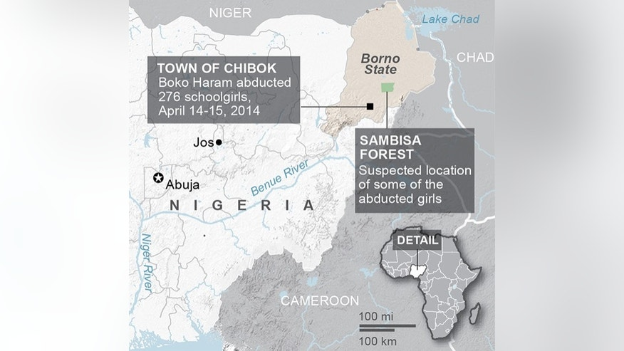 Map shows details of the 2014 abduction of 276 schoolgirls in the village of Chibok, Nigeria; 2c x 3 1/4 inches; 96.3 mm x 82 mm;