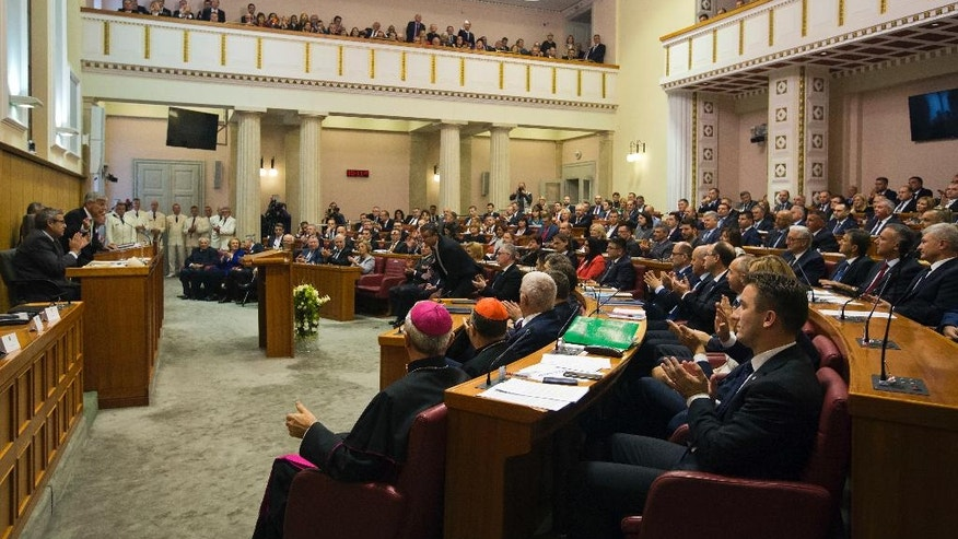 The Croatian Parliament convenes in Zagreb, Croatia, Friday, Oct. 14, 2016. The 151-member Croatian Parliament was inaugurated following the Sept. 11, 2016 snap election. (AP Photo/Darko Bandic)