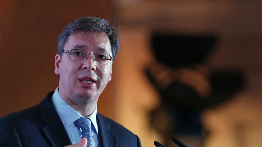 Serbian Prime Minister Aleksandar Vucic speaks during the Business Forum Serbia - Albania, in the town of Nis, Serbia, Friday, Oct. 14, 2016. Serbian and Albanian politicians and businessmen are meeting in Nis as part of efforts to boost ties between Balkan rivals and help stabilise the troubled region. (AP Photo/Darko Vojinovic)