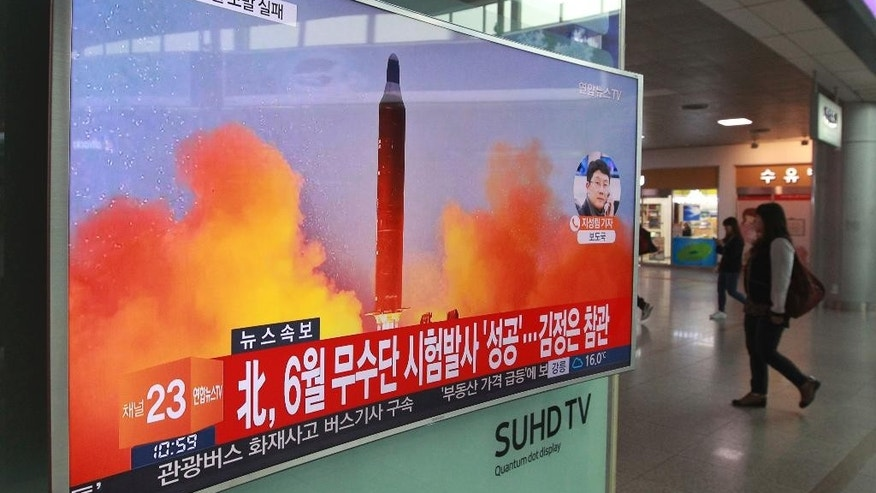 "A TV screen shows a file image of a missile launch conducted by North Korea in a local news program, at Seoul Railway Station in Seoul, South Korea, Sunday, Oct. 16, 2016. South Korea and the U.S. said Sunday that the latest missile launch by North Korea ended in a failure after the projectile exploded soon after liftoff. The letters read ""North attempted to fire a mid-range Musudan missile on June. (AP Photo/Ahn Young-joon)"