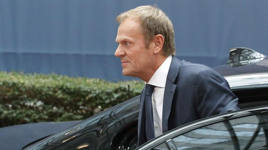 European Council President Donald Tusk arrives for the EU summit in Brussels, Thursday, Oct. 20, 2016. British Prime Minister Theresa May will hold her first talks with European Union leaders and tell them that the U.K.'s decision to leave the bloc is irreversible. (AP Photo/Olivier Matthys)