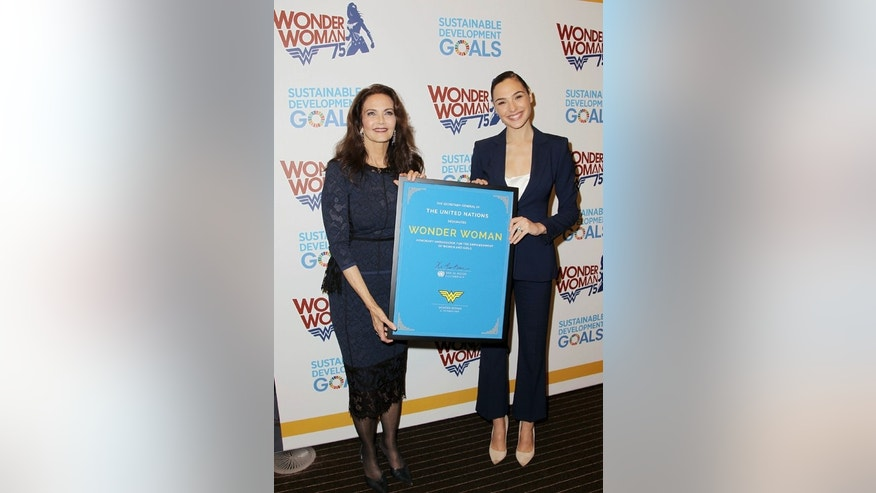 "Oct. 21, 2016: Actress Lynda Carter, who starred in the 1970s series,""Wonder Woman,"" left, and actress Gal Gadot, who stars in the upcoming film, ""Wonder Woman,"" appear at a United Nations event naming the superhero character as an Honorary Ambassador For the Empowerment of Women and Girls"