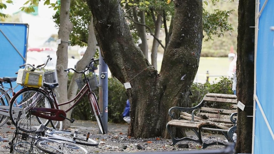 A bicycle is seen fallen on the ground in front of a damaged wooden bench following an explosion at a park in Utsunomiya, north of Tokyo, Sunday, Oct. 23, 2016. One person is dead and several people have been injured after two apparent explosions back-to-back in the city. Japanese media say the reported blasts occurred before noon Sunday at the park and a nearby pay-parking lot. It wasn't clear if they were related, and police are investigating the cause. (Yukie Nishizawa/Kyodo News via AP)http://epix.ap.org/#