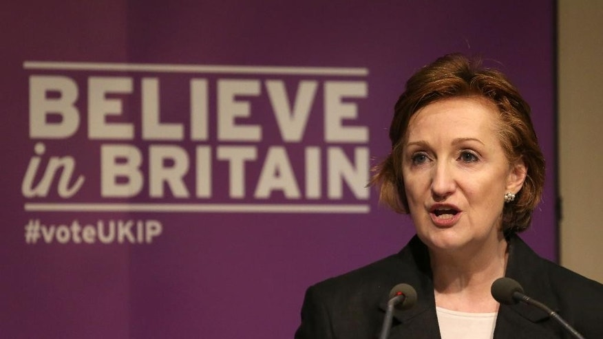 FILE - In this April 14, 2015 file photo, Suzanne Evans makes a speech in London. Two prominent candidates have announced they are running for leadership of Britain's fractious right-wing U.K. Independence Party _ both warning UKIP faces extinction if it doesn't change. Suzanne Evans and Paul Nuttall declared their candidatures on Sunday Oct. 23, 2016.  (Philip Toscano/PA via AP, File)