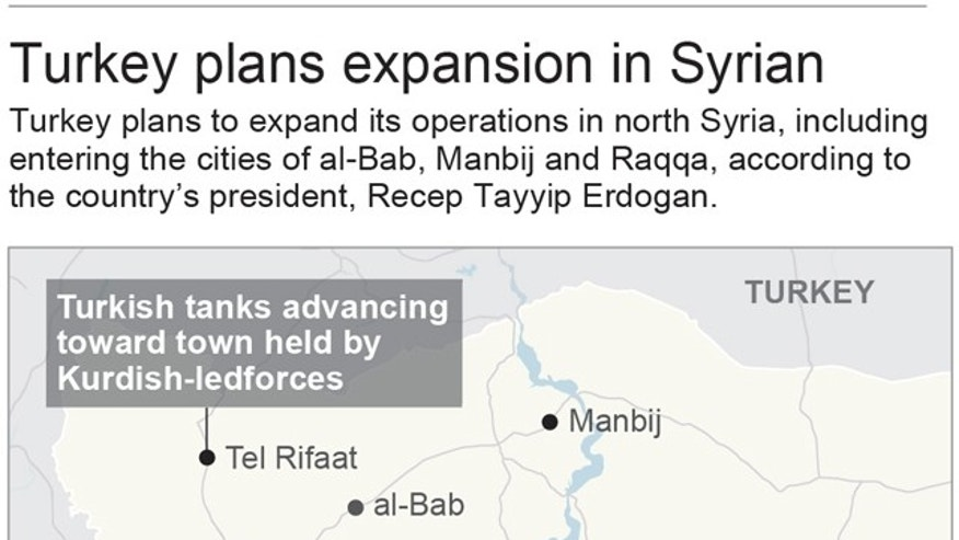 Map locates Syrian cities where Turkey plans to expand operations; 2c x 2 3/4 inches; 96.3 mm x 69 mm;