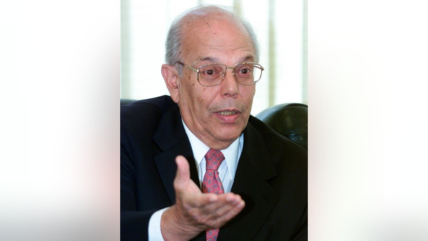 FILE - In this May 12, 2003, file photo, Uruguayan President Jorge Batlle, speaks during a meeting with Brazilian President Luiz Inacio Lula da Silva, at the Itamaraty palace, in Brasilia, Brazil. Batlle, one of Uruguay's most important politicians of the 20th century, has died, according to Hospital officials. (AP Photo/Eraldo Peres)