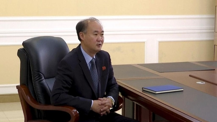 In this image made from video, Pang Kwang Hyok, vice director of the department of international organizations at the North Korean Ministry of Foreign Affairs, speaks during an interview with The Associated Press Television in Pyongyang, North Korea, Monday, Oct. 24, 2016. North Korean officials lashed out Monday at efforts in the United Nations to strengthen sanctions following the North's latest missile launches and nuclear test in September. (AP Photo)