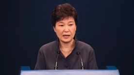 South Korean President Park Geun-hye speaks as she offers a public apology in Seoul, South Korea, Tuesday, Oct. 25, 2016. Park has offered a public apology after acknowledging her close ties to a mysterious woman at the center of a corruption scandal. Park's apology came a day after a South Korean TV network reported that the woman Choi Soon-sil, who has no government job, was informally involved in editing some of Park's key speeches. (Baek Seung-yul/Yonhap via AP)