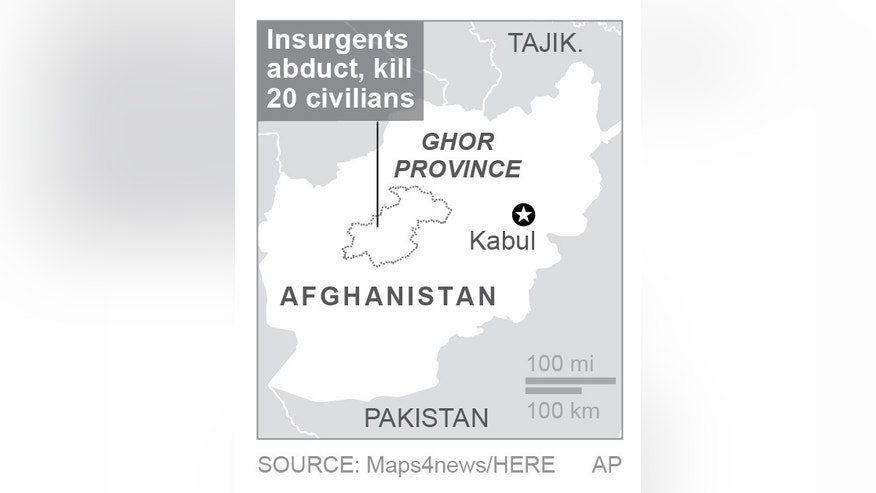 Map locates Ghor province, Afghanistan; 1c x 2 inches; 46.5 mm x 50 mm;