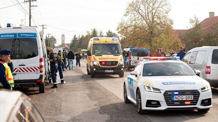 Police officers investigate at the scene of a shooting in the village of Bony, 107 kms west of Budapest, Hungary, Wednesday, Oct. 26, 2016. Hungarian media reports say that a police officer has been killed during a raid on the home of the leader of an extremist group in the village of Bony, near the western city of Gyor. The alleged shooter, reported to be the 74-year-old founder and leader of the Hungarian National Front, a marginal, ultra-nationalist group, was injured in the confrontation. (Csaba Krizsan/MTI via AP)