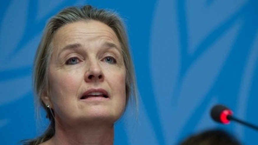 Elizabeth Hoff, World Health Organization (WHO) representative in Syria, speaks at a press briefing in Geneva on January 26, 2016.