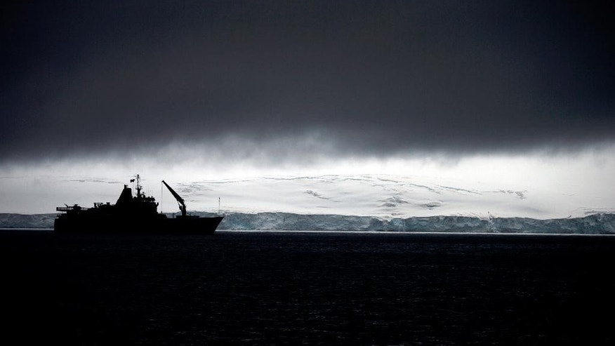 In this Jan. 25, 2015 photo, Chile's Navy ship Aquiles moves alongside the Hurd Peninsula, seen from Livingston Islands, in Antarctica. The countries that decide the fate of Antarctica agreed on Friday, Oct. 28, 2016,  to create the world's largest marine protected area in the ocean next to the frozen continent. The agreement comes after years of diplomatic wrangling and high-level talks between the U.S. and Russia, which has rejected the idea in the past.(AP Photo/Natacha Pisarenko)