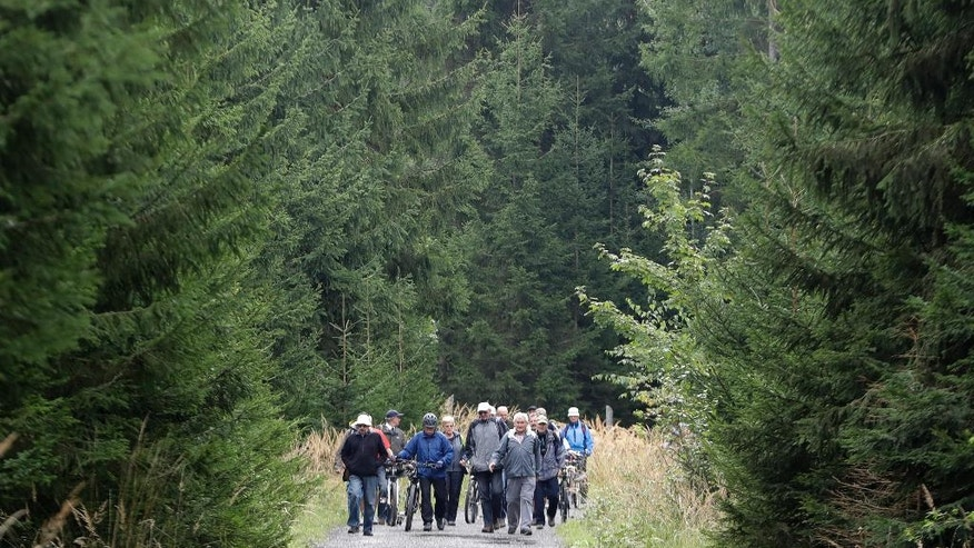 In this picture taken on Wednesday, Sept. 21, 2016, a group of tourists walk inside the Brdy reserve in Brdy, Czech Republic. A former military zone near Prague which the army used to do artillery training has been turning into a protected nature reserve and opening to the public after almost a century with a big politics decision behind it. (AP Photo/Petr David Josek)