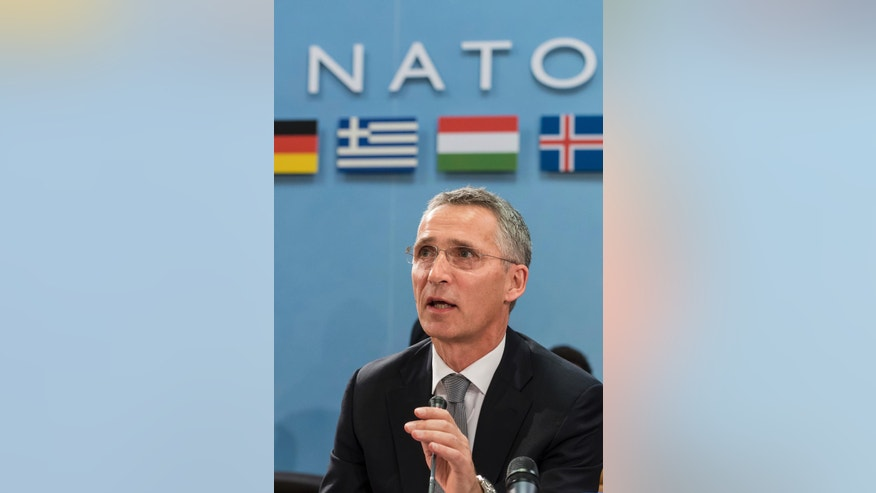 NATO Secretary General Jens Stoltenberg talks during a meeting of the North Atlantic Council Defense Ministers session at NATO headquarters in Brussels Thursday, Oct. 27, 2016. NATO defense ministers are meeting in Brussels to discuss tense relations with Russia, how to help Middle East nations combat extremism and cooperation between the military alliance and the European Union. (AP Photo/Geert Vanden Wijngaert)