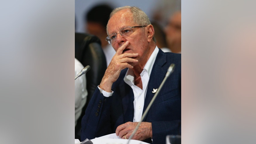 Peru's President Pedro Pablo Kuczynski attends the opening ceremony of the 25th Ibero-American Summit in Cartagena, Colombia, Saturday, Oct. 29, 2016. (AP Photo/Fernando Vergara)