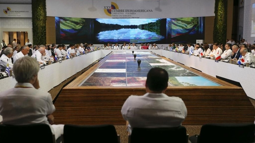 Heads of state and representatives from Latin America and the Iberian Peninsula attend the opening ceremony of the 25th Ibero-American Summit in Cartagena, Colombia, Saturday, Oct. 29, 2016. (AP Photo/Fernando Vergara)