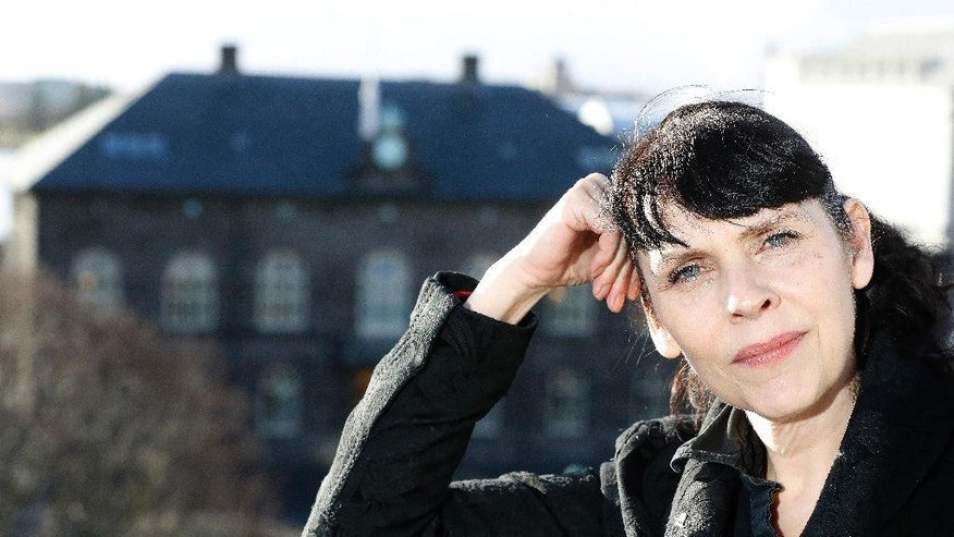 Senior Pirate party lawmaker Birgitta Jonsdottir speaks during an interview before the Iceland Parliamentary elections in Reykjavik, Wednesday, Oct. 26, 2016.  According to polls the Piratar (Pirate) Party, an anti-authoritarian band of buccaneers that wants to shift power from government to people, is one of the front-runners in the Oct. 29, election triggered by financial scandal in a country still recovering from economic catastrophe.  (AP Photo/Frank Augstein)