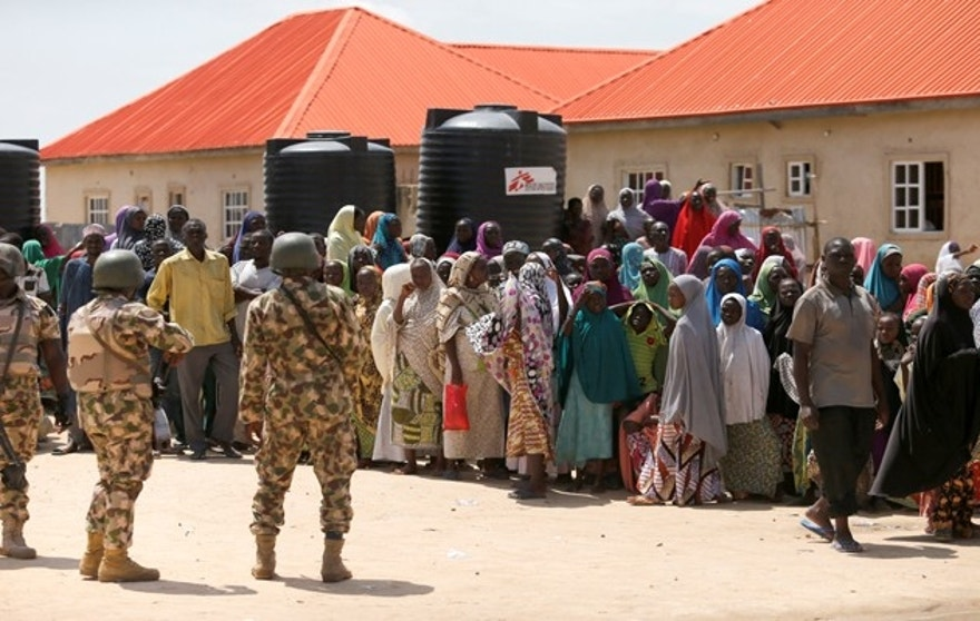 Security personnel are seen at the Bakkasi camp for Internally Displaced People (IDP), after security was called in to control a protest rally held to demonstrate against what the IDPs said was a poor distribution of food rations, in Maiduguri, Borno state, Nigeria, August 29, 2016. REUTERS/Afolabi Sotunde - RTX2NIJJ