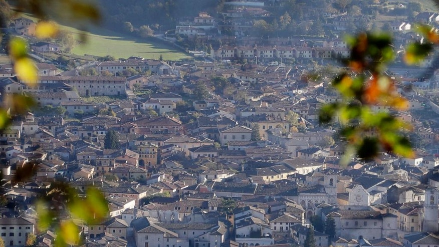 A general view shows an area of Norcia, central Italy, Monday, Oct. 31, 2016. The third powerful earthquake to hit Italy in two months spared human life Sunday but struck at the nation's identity, destroying a Benedictine cathedral, a medieval tower and other beloved landmarks that had survived the earlier jolts across a mountainous region of small historic towns. (AP Photo/Gregorio Borgia)