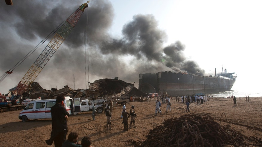 Explosion at Pakistani ship breaking yard kills 7 laborers